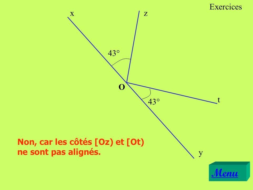 Exercices x z 43° O t 43° Non, car les côtés [Oz) et [Ot) ne sont pas alignés. y Menu